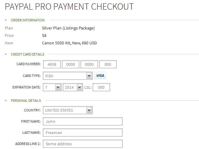 PayPal Pro checkout