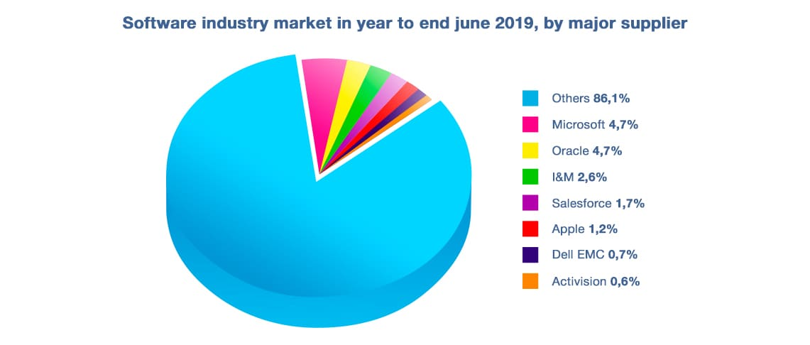 Software industry market share in year to end june 2019, by major supplier